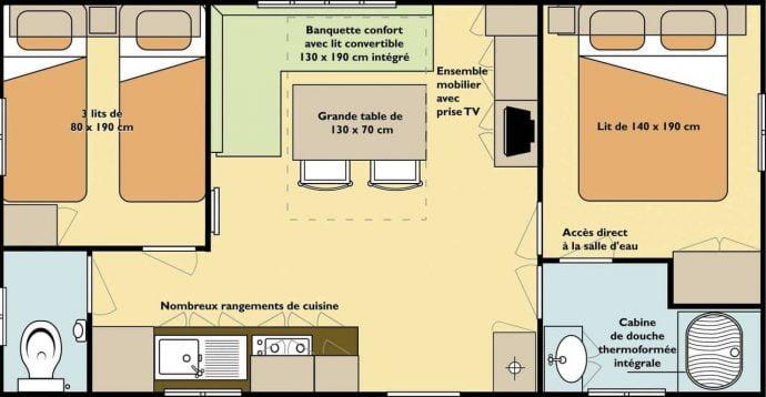 Plan du Mobilhome Mercure Family pour 5 personnes